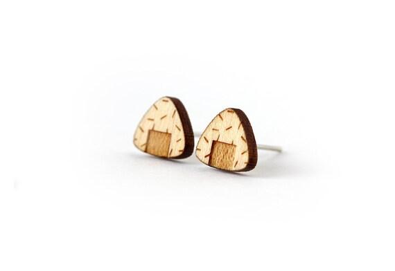 Onigiri stud earrings - Japanese food earrings - sushi - maki - tiny jewelry - lasercut maple wood - hypoallergenic surgical steel posts