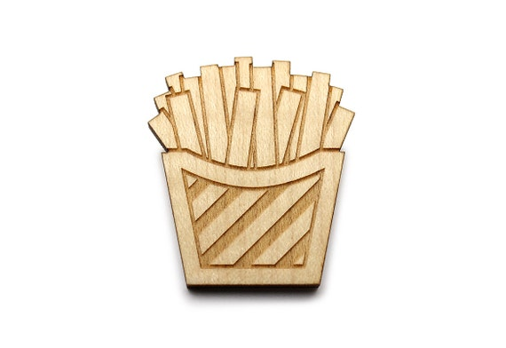Fries brooch - chips pin - kitsch fast food jewelry - lasercut maple wood - graphic jewellery