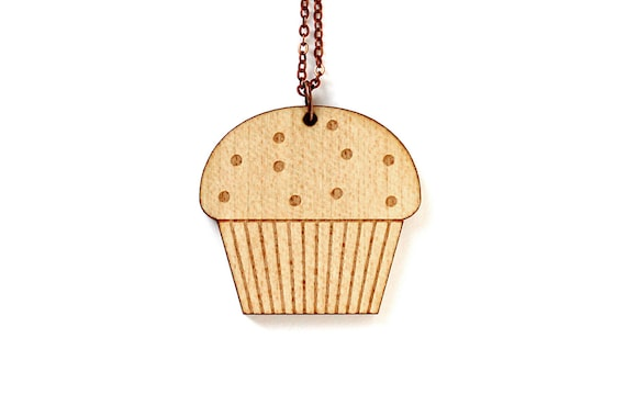 Muffin necklace - cake pendant - graphic cupcake - food jewelry - lasercut maple wood - illustrated jewellery - wooden accessory