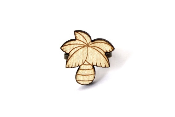 Palm tree ring - kitsch palmtree ring - graphic summer jewelry - holidays jewellery - California - lasercut maple wood - lasercutting