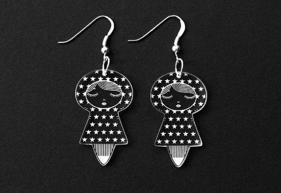 Stars dolls earrings - cute doll earrings - matriochka jewelry - kokeshi jewellery - sterling silver findings - lasercut clear acrylic