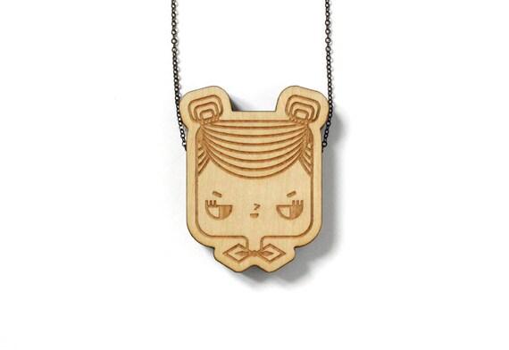 Wooden pendant Judith - laser engraved and cut - minimalist - cute - japanese - scandinavian - design - maple