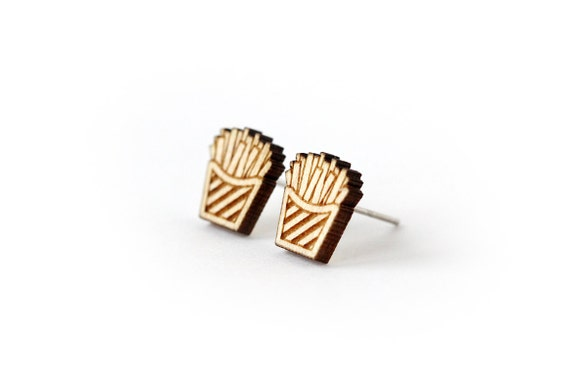 French fries studs - miniature food earrings - tiny posts - mini - fast food - lasercut wood - hypoallergenic surgical steel - lasercutting