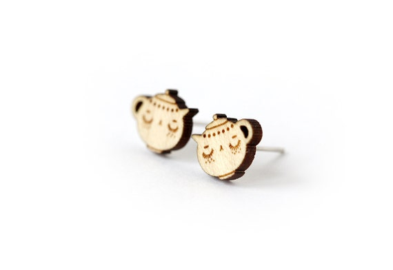 Teapot studs in lasercut wood - wooden earrings - tiny posts - gift for tea lover - miniature teatime jewelry - hypoallergenic - nickel free
