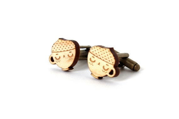 Coffee cup cufflinks - cappuccino cuff links - wedding accessory - groom jewelry - best man jewellery - lasercut maple wood - graphic kitsch