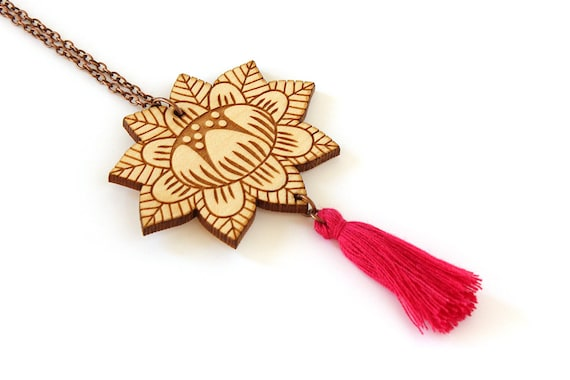 Wooden flower necklace with fuchsia tassel - lasercut wood pendant - stylized floral - vegetal jewelry - folk accessory