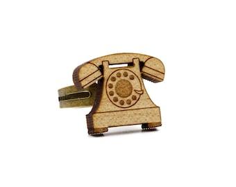 vintage phone ring - retro telephone ring - lasercut maple wood - graphic vintage jewelry - adjustable ring