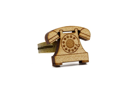 vintage phone ring - retro telephone ring - lasercut maple wood - graphic vintage jewelry - adjustable ring