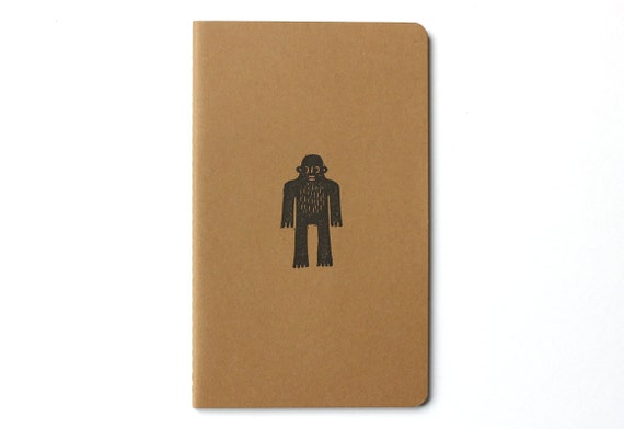 Moleskine notebook Sweet Yeti - Handprinted with Bigfoot / Sasquatch / monster character illustration - A5 / medium - blank pages