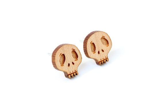 Skull stud earrings made of lasercut maple wood - tiny gothic dark posts - hypoallergenic surgical steel - nickel free jewelry