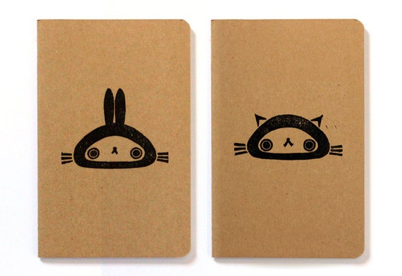 Set of two cute Moleskine notebooks Bunny and Cat - Handstamped with cute character illustration - A6 / small