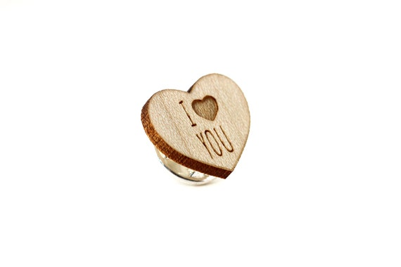 """Heart pin with message """"I love you"""" - graphic brooch - romantic accessory - not another enamel pin - graphic accessory - lasercut maple wood"""