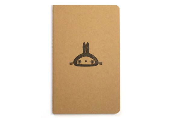 Bunny notebook - handstamped Moleskine - cute rabbit illustration - animal stamp - black ink on natural kraft cardboard - A5 / medium size