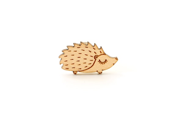 Wooden Hedgehog pin made of lasercut maple wood - cute porcupine brooch - not another enamel pin - kawaii accessory - gift for animal lover