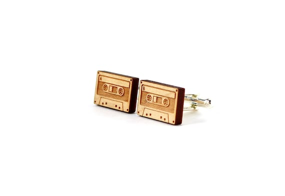 Audio tape cufflinks - vintage technology - lo-fi wood cuff links - 80's wooden jewellery - lasercut - minimalist accessory for men