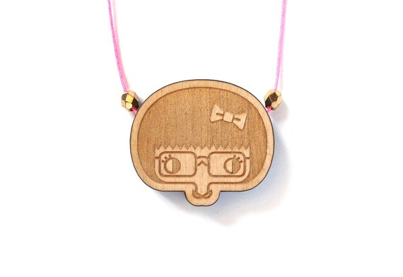 Wooden necklace Esther - girl with glasses and bow pendant - miniature character pendant - minimalist jewellery - lasercut jewelry