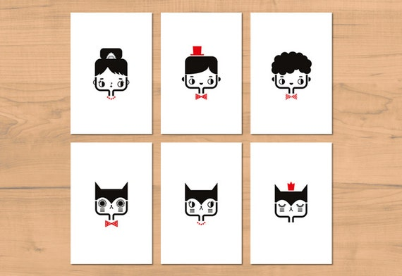 Set of six cute postcards with portraits of cats and other characters - children bedroom decor - minimalist illustration - cute stationery