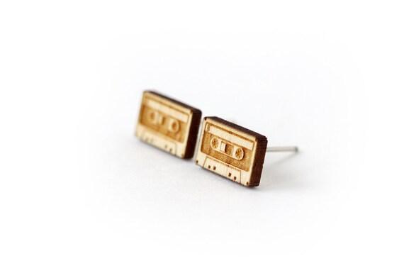 Audiotape studs - audiotape earrings - tiny posts - mini jewelry - retro jewellery - lasercut maple wood - hypoallergenic surgical steel