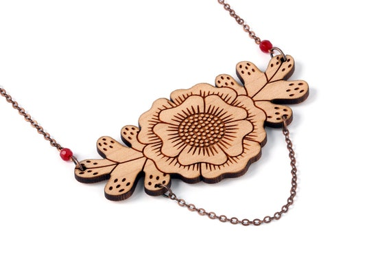 Floral bib necklace in lasercut wood - statement fall jewelry with flower and leaves - foliage pendant - autumn jewelry - Botanica