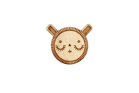 Sleeping bunny pin - cute rabbit brooch - animal badge - not another enamel pin - kawaii - graphic accessory - lasercut maple wood - steel