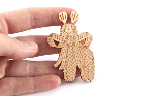 Lama brooch made of lasercut wood - imaginary animal pin - fantastic creature jewelry - fantasy magical beast