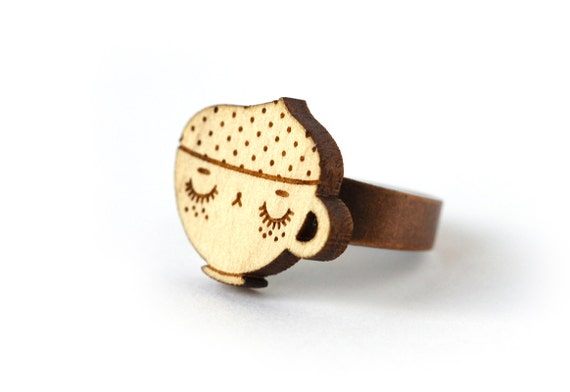 Cappuccino ring - wood - lasercutting - coffee cup ring - cute food jewelry - kawaii jewellery - graphic ring - lasercut maple wood