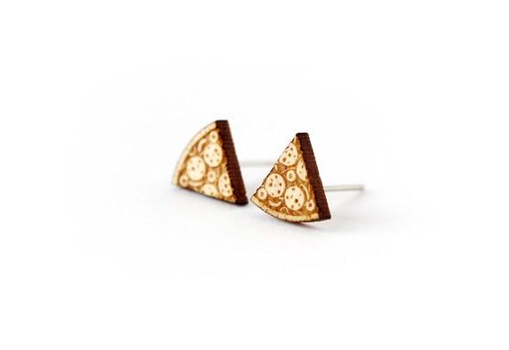 Pizza slice stud earrings - tiny post earrings - mini jewelry - graphic kitsch jewellery - lasercut wood - hypoallergenic surgical steel