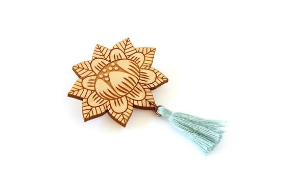 Flower brooch with tassel - light teal - wooden floral pin - stylized vegetal jewelry - folk jewellery - lasercut wood accessory