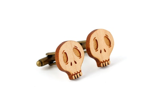 Lasercut wooden skull cufflinks - maple wood calaveras cuffs - tattoo addict - dark gift for him - goth wedding - groom accessory