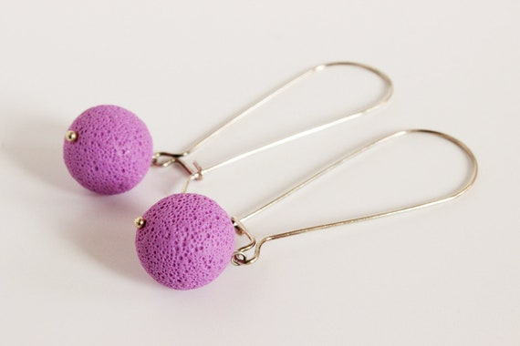 Lilac earrings - sterling silver and polymer clay - pastel purple - textured sphere - statement jewelry - minimalist - color block jewellery