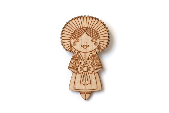 Wooden doll brooch with folkloric costume from Calais - folklore pin made of lasercut wood - lace and flowers - cute jewelry