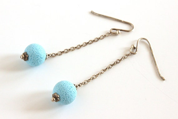 Light blue earrings - sterling silver and polymer clay - pastel - textured sphere - statement jewelry - minimalist - color block jewellery