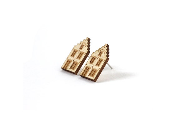 Dutch house studs - mini architecture earrings - tiny posts - illustrated jewelry - miniature house - lasercut maple wood - surgical steel