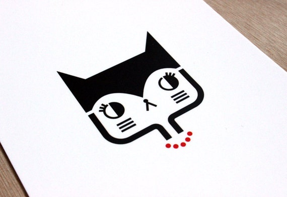 Postcard Cat with necklace - cute greeting card - kawaii illustration - minimalist home decor children bedroom