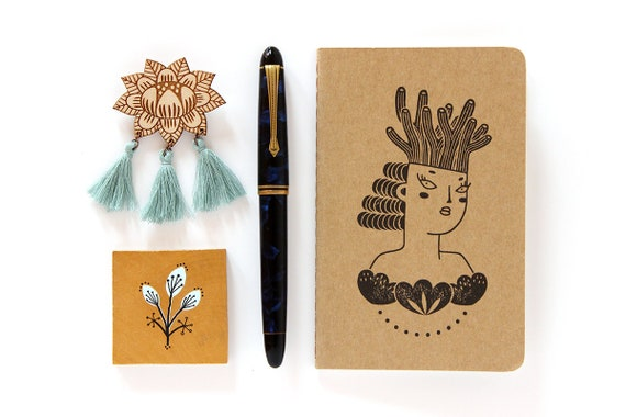 Mermaid notebook - Moleskine sketchbook with the portrait of a woman wearing a coral crown - handstamped with my illustration - A6 / small