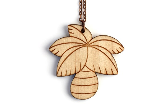 Palmtree necklace - palm tree pendant - coconut jewelry - lasercut maple wood - California - Caribbean - summer holidays - exotic beach