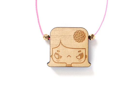 Wooden necklace Lily - girl with flower in the hair - romantic miniature character pendant - minimalist jewellery - lasercut jewelry