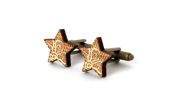 Star cufflinks with lace pattern - lasercut wood - lasercutting - wooden wedding accessory - men jewelry - groom - graphic jewellery