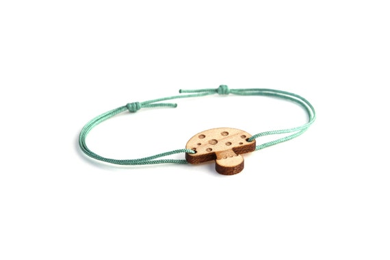 Mushroom bracelet - 25 colors - cute fall bangle - adjustable bracelet - lasercut maple wood - minimalist jewelry - unisex - customizable