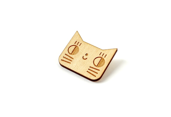 Wooden cat brooch made of lasercut wood - kitten pin - cute animal jewelry - kawaii accessory - - lasercutting