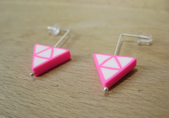 Neon pink triangle earrings - polymer clay and sterling silver - minimalist jewelry - handmade