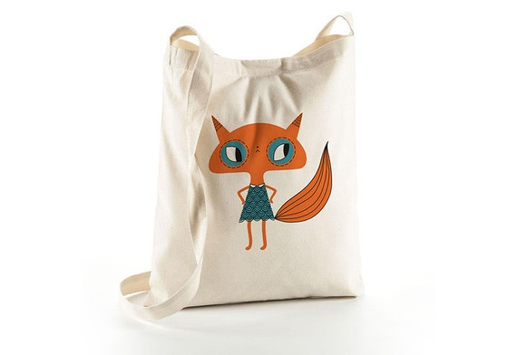 Tote bag with shoulder strap - Little Fox - screen-printed shopping bag - organic cotton - bag illustrated with fox