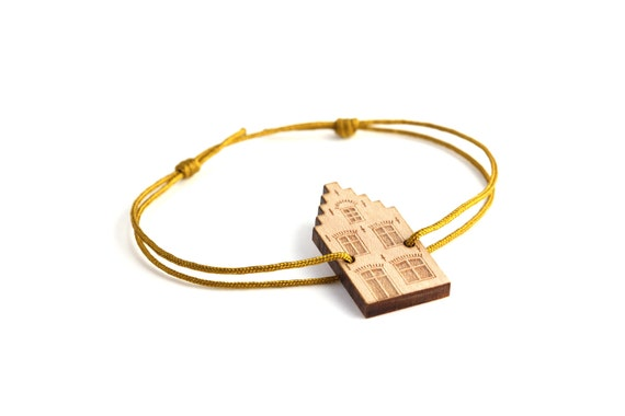 Dutch house bracelet - 25 colors - architecture bangle - customizable jewelry - adjustable length - lasercut maple wood - graphic jewelry