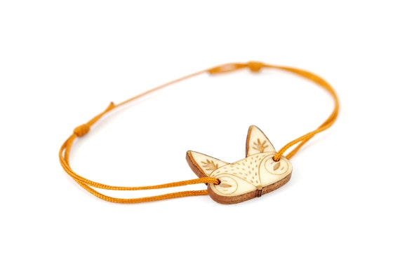 Fox bracelet made of lasercut maple wood - cute forest fauna animal bangle - jewelry for nature lovers - adjustable length osfa