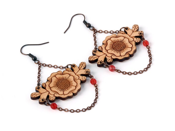 Floral earrings - statement dangle earrings - flower and leaves - foliage - chain - beads - fall jewellery - autumn jewelry - lasercut wood