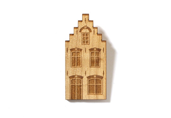 Lasercut wood Dutch house brooch - Amsterdam architecture pin - jewelry - gift for architect or real estate agent