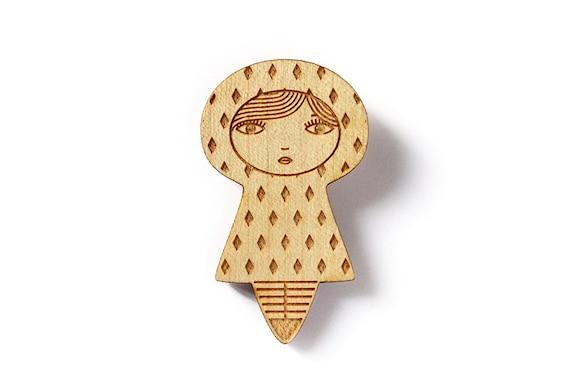 Wooden doll brooch with diamonds - kawaii kokeshi - cute matriochka pin - geometric accessory - graphic jewelry - poetic - lasercut wood