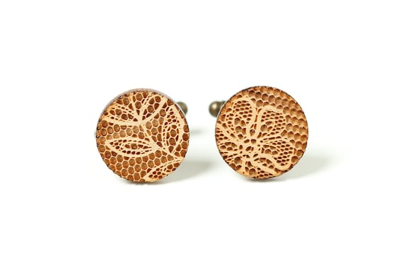 Mismatched cufflinks with retro lace pattern in lasercut wood - leaves and flower - men wedding accessory - groom jewelry - bestman gift