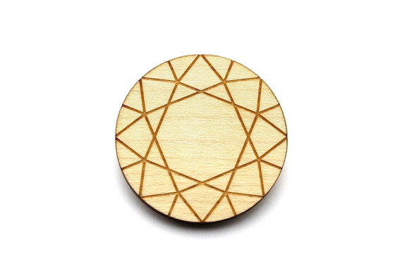 Diamond brooch - fake diamond pin - trompe-l'œil - lasercut maple wood - graphic jewelry - graphic jewellery
