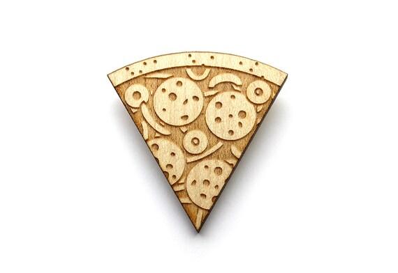 Pizza brooch  - Pizza jewelry  - maple wooden jewellery - wood and metal pin - lasercut minimalist jewelry
